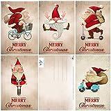 Edition Colibri 11051-55 - Juego de 15 divertidas tarjetas de Navidad (5 diseños diferentes, 14 x 10,5 cm), diseño retro de Papá Noel