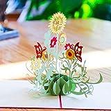 EUFANCE Sun Flower 3D Pop Up Tarjetas de felicitación Aniversario Bebé Cumpleaños Halloween Año Nuevo Acción de Gracias Navidad San Valentín Boda
