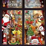ShengRuHai 9Pcs Pegatinas de Navidad Ventana,Reutilizable PVC Pegatinas Navidad Reno Santa Claus Copos Nieve Decoracion Navidad Exterior Interior Murales Decorativos Pegatinas
