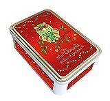 Caja de metal 'Ma búho recinto para tartas, rojo, recinto Déco Navidad–fabricado en Francia–la luna
