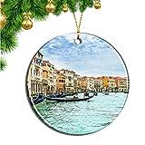 Hqiyaols Ornament Italia Canal Grande Venecia Navidad Adornos Colgantes Pieza Cerámica Recuerdo Ciudad Viaje Regalo