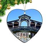 Hqiyaols Ornament Italia Rimini Pequeña Venecia Navidad Adornos Colgantes Decoración Pieza Cerámica Forma Corazón Recuerdo Ciudad Viaje Regalo