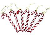 Christmas Concepts® Pack de 6 - Decoraciones para árboles de Navidad con bastón de Caramelo con Brillo de 13 cm (Rojo y Blanco)