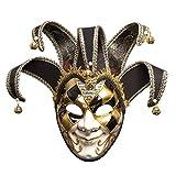 YYH Máscaras de Halloween de los Hombres Fiesta de Navidad Máscara de antigüedades de Cara Completa Venecia Venecia Italia (Color : Black)