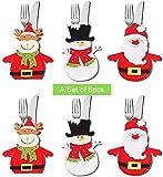 6 piezas Bolsillo de titular de vajilla de Navidad Bolsa de cubiertos, Decoración de Navidad Adornos de Navidad,Bolsillos Cena Decoración del hogar (Christmas Tableware Bag)