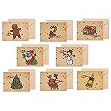 24 tarjetas de felicitación navideñas con sobres y pegatinas, Tarjeta de Felicitación, Papel Kraft Retro Hecho a Mano,Navidad tarjetas de felicitación Bulk invierno vacaciones de Navidad tarjetas