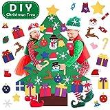 Satkago-es Juego de árbol de Navidad de Fieltro DIY, árbol de 120 cm con 36 Piezas de Adornos Desmontables Año Nuevo para niños Decoración de Pared Colgante de Puerta