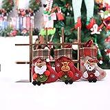 Kaishuai-Medias de Navidad,3pcs Calcetines de Navidad, Bolsa de Regalo,Chimenea Decoración Colgante Calcetín de Navidad Santa, renos de navidad,Oso,patrón.Bolsa de Dulces con Adornos navideños