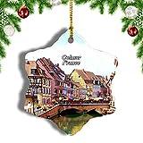 Weekino Francia Casco Antiguo Pequeña Venecia Colmar Decoración de Navidad Árbol de Navidad Adorno Colgante Ciudad Viaje Porcelana Colección de Recuerdos 3 Pulgadas