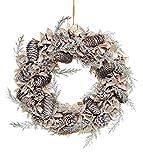 Shatchi - Corona de Navidad hecha a mano con bolas de algodón auténtico, conos de pino vintage, decoración para la puerta, 50 cm, color verde