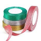 FEPITO 4 Pack 20mm Ancho Cinta de Navidad Oro Plata Rojo Verde Cinta Glitter Organza Cinta para envolver regalos Decoración navideña (Oro/Plata/Rojo/Verde)