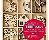 Navidad - Mezcla De Pequeñas Decoraciones de Madera (45pcs), Decoración, Bricolaje, Arte de la Navidad, Docrafts de Madera, Decoraciones, Adornos, Papel de Scrapbooking
