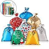36 Piezas Bolsas de Regalo de Navidad Bolsas de Envolver Regalos Bolsas de Navidad de Goody con 40 Piezas Cintas para Favores de Fiesta de Vacación de Navidad, 4 Tamaños