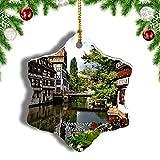 Weekino Francia Estrasburgo Decoración de Navidad Árbol de Navidad Adorno Colgante Ciudad Viaje Porcelana Colección de Recuerdos 3 Pulgadas