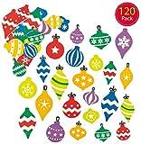 Baker Ross Pegatinas de Espuma con Forma de Bolas de Navidad (Paquete de 120) para Decorar Tarjetas, collages y Manualidades Infantiles