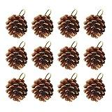 VOSAREA 12 Colgantes de Navidad de piñas Naturales Decorativas para árbol de Navidad, Colgantes para decoración de Festivales y Casas
