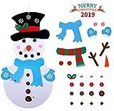 Idefair Fieltro Muñeco de Nieve de Navidad, Adornos Navidad DIY Decoración de Colgante para Niños 28PCS Desmontable Adornos Navidad 102 × 51 CM