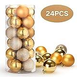Unigoods 24 Piezas Bolas de Navidad 6 cm Bolas de árbol de Navidad Adorno para Colgar en la Pared Adornos para Colgar Decoraciones(Gold)