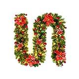 Winbang Adorno navideño, Guirnalda de guirnaldas Decoradas de 2,7 m con Luces LED