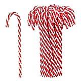 Hicarer 50 Piezas Bastón de Caramelo de Plástico de Navidad Adornos Colgante de Árbol de Navidad para Favores de Decoración de Fiesta de Vacaciones (Rojo y Blanco)