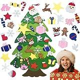 TATAFUN Árbol de Navidad de Fieltro, Árbol Navidad con 25 Ornamentos Desmontables, 3.67FT Regalos Colgantes de Navidad de la Pared para Las Decoraciones de la Navidad para Paredes y Puertas del Hogar