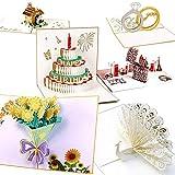 Tarjeta de Felicitación 3D QinTian 6Pcs Tarjeta de cumpleaños Regalo Tarjeta de San Valentín, Tarjetas 3D Creativo para Navidad/Día de San Valentín/Día de la Madre/Aniversario/Fiesta de amigos