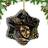 Weekino Máscara Carneval Venecia Decoración de Navidad Árbol de Navidad Adorno Colgante Ciudad Viaje Porcelana Colección de Recuerdos 3 Pulgadas