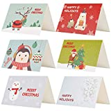 Kesote 24 Piezas de Tarjetas de Navidad de 6 Modelos con Diseños de Flores 24 Tarjetas + 24 Pegatinas Navideñas + 24 Sobres