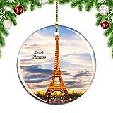 Weekino Francia Torre Eiffel París Decoración de Navidad Árbol de Navidad Adorno Colgante Ciudad Viaje Colección de Recuerdos Porcelana 2.85 Pulgadas