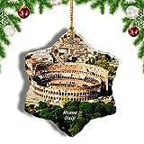 Weekino Italia Coliseo Roma Decoración de Navidad Árbol de Navidad Adorno Colgante Ciudad Viaje Porcelana Colección de Recuerdos 3 Pulgadas
