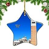 Weekino Italia Plaza de San Marcos Catedral Venecia Decoración de Navidad Árbol de Navidad Adorno Colgante Ciudad Viaje Porcelana Colección de Recuerdos 3 Pulgadas