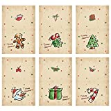 MHwan postales para navidad, tarjeta postal, Kit de tarjetas de Navidad de tarjetas de felicitación hechas a mano de 6 piezas para regalo de manualidades para niños de Navidad, 8.5 x 11.5 cm