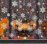 Agoer Pegatinas de Copo de Nieve de la Navidad, Etiquetas Engomadas Autoadhesivas de la Ventana del PVC Blanco, Decoración Navideña para el Casa Oficina Centro Comercial