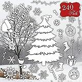 240 Decoración para Ventanas de Copo de Nieve Navideño - Decoración festiva ideal para el hogar, la oficina o el frente de la tienda.