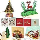 Tarjetas de Navidad 3D, eZAKKA Tarjetas de Navidad 3D Pop Up Tarjetas de regalos de felicitación navideña Tarjetas con sobres para Navidad Feliz Navidad Año Nuevo, Calidad Premim, Paquete de 5