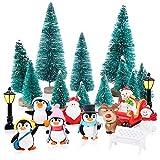 FLOFIA Miniaturas Navidad Mini Árbol de Navidad Artificial Pequeño Miniaturas Jardín Set de Escenas Muñeco de Nieve de Pingüino Banco Ciervo Figura Micro Paisajes Adornos Navideño DIY, 24pcs