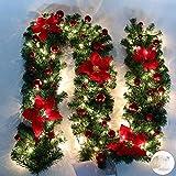 Queta Adornos Guirnalda de Navidad, Guirnalda de Abeto Decoración Navideña con Flores Lámparas Hermosas Decoración Navideña para Escaleras, Paredes, Puertas 2.7m (Rojo)