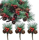 Super Idee 20 pequeñas ramas de abeto artificial con bayas y piñas, ideal para decoración navideña, decoración de Adviento, interior y exterior, manualidades, corona de Adviento, decoración de mesa