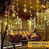 Elegear Guirnalda luces Estrella 138 LED 8 Modos de Flash Cortina de Luces End-to-End IP44 Impermeable, 8 Modos para Fiestas, Bodas, Casa, Jardín, Decoración Navidad, etc. (12 ESTRELLA*2M)