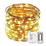 ACDE Guirnaldas luminosas 10 Metros 100 LED con pilas con Temporizador de Control Remoto Impermeable Cadena Luces Alambre de Cobre para Interior Exterior Navidad Decoración-Amarillo Cálido