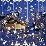 Flysee Pegatinas Navidad para Ventanas, adornos navideños, Pegatina Copo de Nieve Navidad, Decoración de Navidad para Ventana de Casa y Tienda (185 Pcs)
