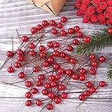 TUPARKA 300 Piezas Bayas de Acebo de Navidad Mini Bayas Artificiales para Decoraciones navideñas Decoraciones de guirnaldas navideñas Suministros para Hacer Coronas