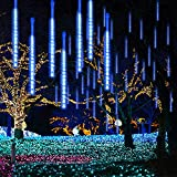 GPODER Lluvia De Meteoros 30Cm, 8 Impermeable Transparente Tubos Luces Lluvia, 288 Leds Meteoros Lluvia Luces para Navidad Árbol Exterior Jardín Decoración Luces Leds(Azúl)