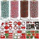 Outus 4 Rollos de Cuerda de Algodón de Panadería y 16 Hojas de Pegatinas Envolver Regalo Manualidades (Color 1)