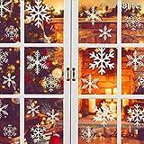 Hanbee Navidad Pegatinas de Pared Calcomanías de Ventana de Copo de Nieve Pegatinas de PVC para Ventanas Vidrios Navidad Decoración Decoración de la Pared Blanco(81 pcs Copo de Nieve)