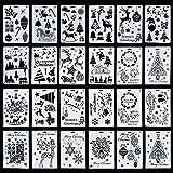 Tanersoned 24Pcs Plantillas de Dibujo de Navidad, Pintura Stencil Escala gráficos Plantilla para Diario/DIY álbum/Cuaderno/Manualidades de Navidad
