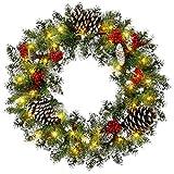 xiaocai Corona de Navidad de 60,96 cm para decoración de puerta, decoración y pino invernal para escaparates, paredes, chimeneas, habitaciones y decoraciones de árbol de Navidad