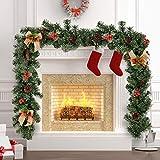 BOTTLEWISE Guirnaldas Navideñas para Chimeneas Escaleras Decoración de Navidad Artificial (A)