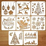 Coogam kit de dibujo de plantilla de navidad de plástico reutilizable, Conjunto de 8, Merry Christmas Santa Claus árbol de Navidad Copos de Nieve Bells Reno Plantilla Para DIY Decoración de Navidad
