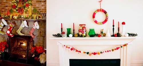 adornos navideños para chimeneas